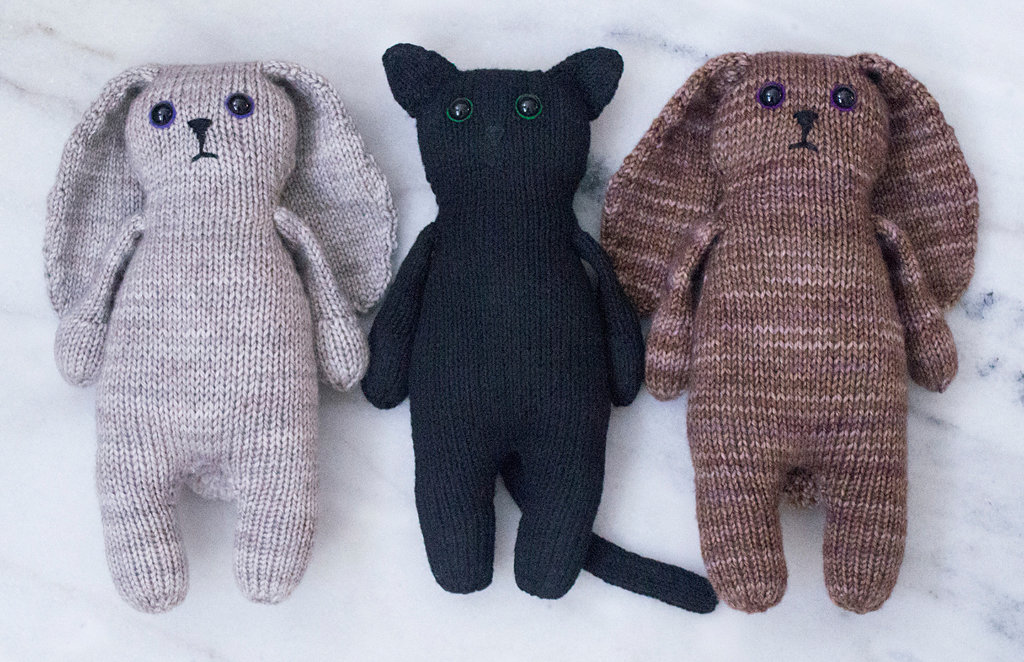 Knit Bunnies and Kitty