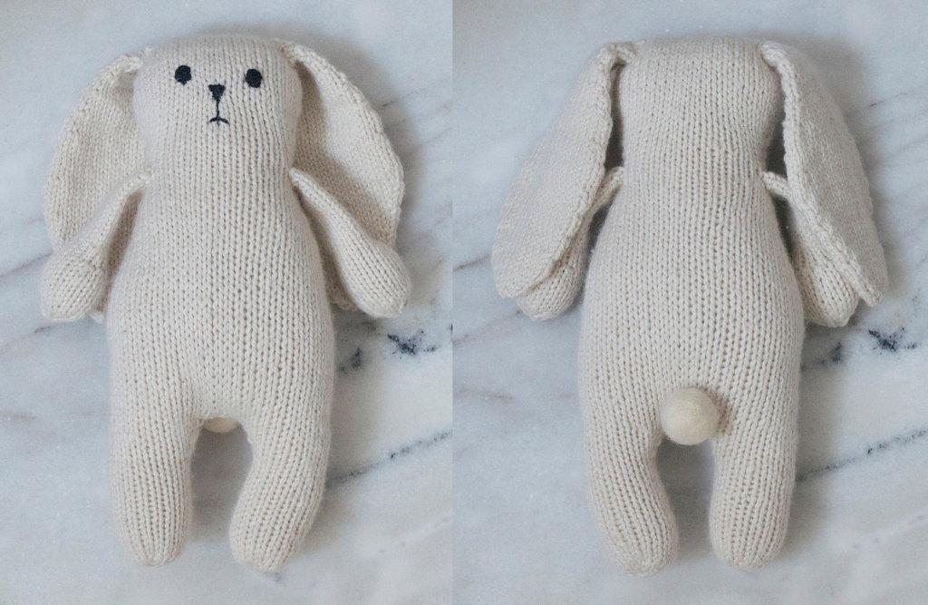 Knit Bunny Toy - White Bunny