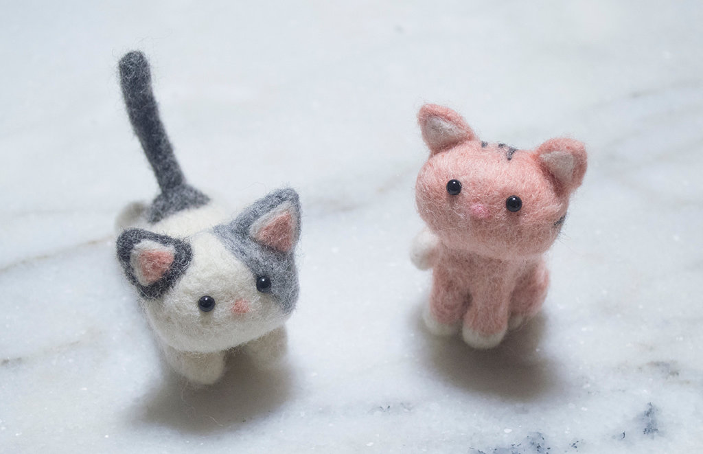 Playful and Sitting Felted Cats